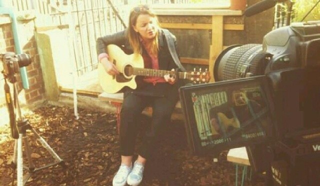 Recording a live session on a Camden rooftop.
