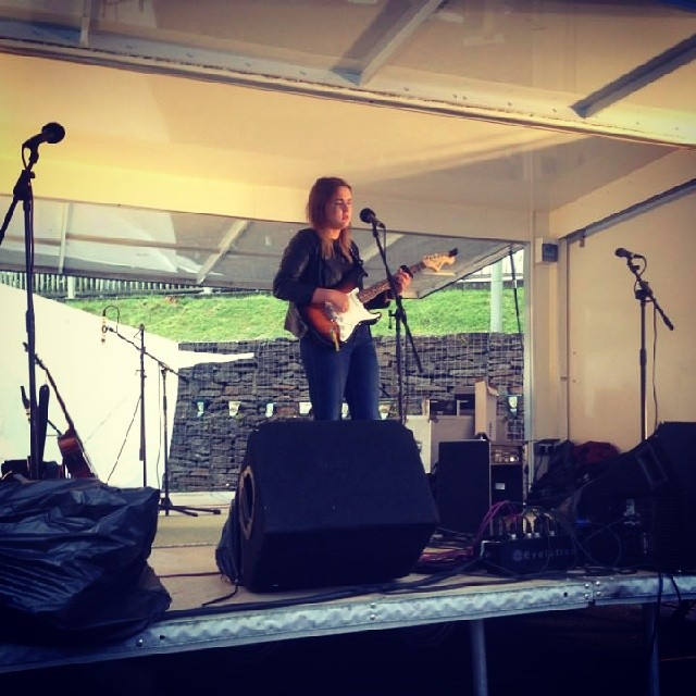 Playing at a Welsh Language gig with my fender.
