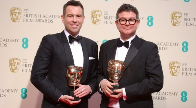 Stephen and David looking pleased at the BAFTAs.